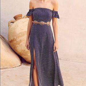 Lulu's Navy Polka Dot Off-Shoulder Maxi Dress
